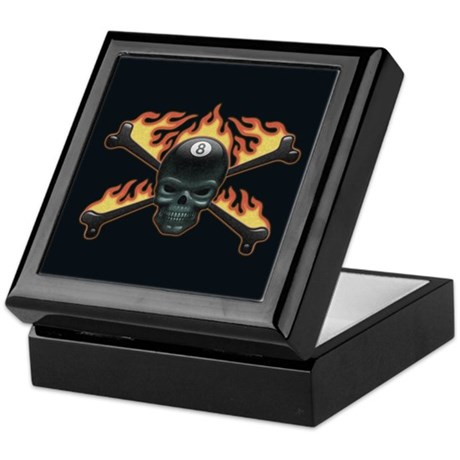 Flaming 8 Skull Keepsake Box