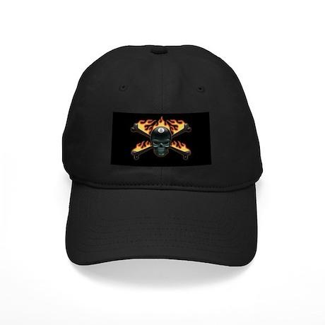 Flaming 8 Skull Black Cap