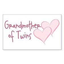 Grandmother of Twins Rectangle Decal