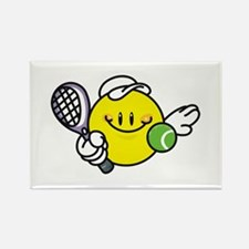 Smile Face Tennis Rectangle Magnet
