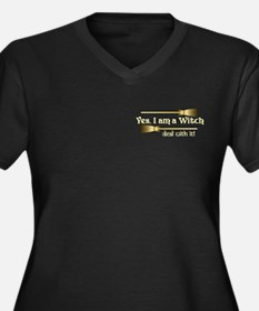 Yes I am a Witch Women's Plus Size V-Neck Dark T-S