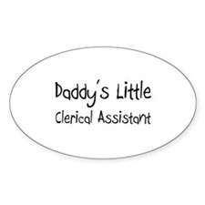 Daddy's Little Clerical Assistant Oval Decal