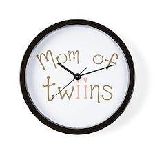 Mom of Twin Girls Twiin Wall Clock