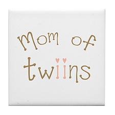 Mom of Twin Girls Twiin Tile Coaster