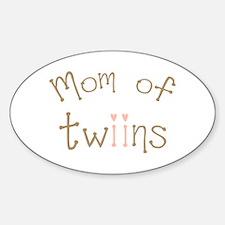 Mom of Twin Girls Twiin Oval Decal