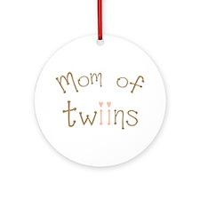 Mom of Twin Girls Twiin Ornament (Round)