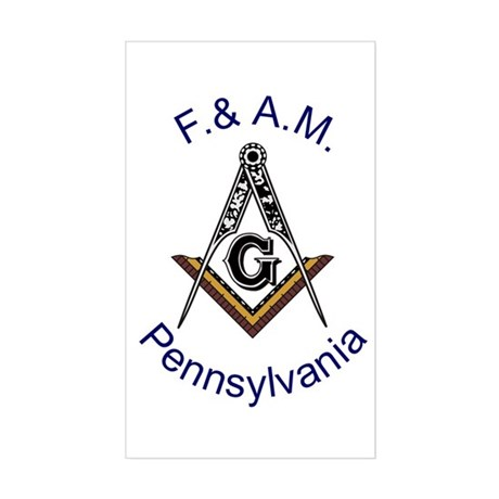 Pennsylvania Square and Compass Sticker (Rectangle