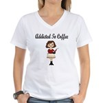 Addicted to Coffee Women's V-Neck T-Shirt