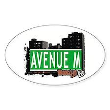 AVENUE M, BROOKLYN, NYC Oval Decal