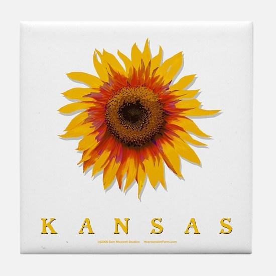 Kansas Sunflower Tile Coaster