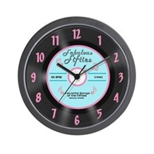 50's 45 Record Wall Clock, Turquoise