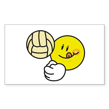 Smile Face Volleyball Rectangle Sticker 10 pk)