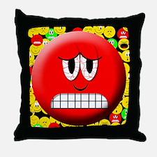 Angry Mood Smiley Throw Pillow
