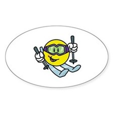 Smile Face Skiing Oval Bumper Stickers