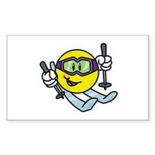 Smile Face Skiing Rectangle Decal