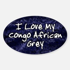 Funky Love Congo African Grey Oval Decal