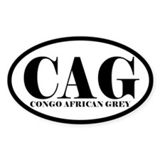 CAG Abbreviation Congo African Grey Oval Decal