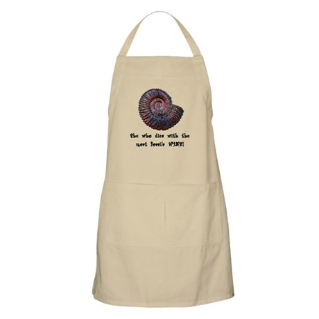 She Who Dies With the Most Fossils Wins! BBQ Apron
