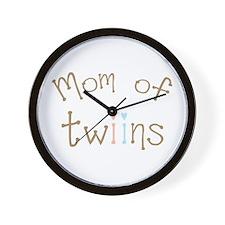 Mom of Twins Boy Girl Wall Clock