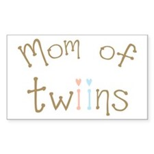 Mom of Twins Boy Girl Rectangle Sticker 10 pk)