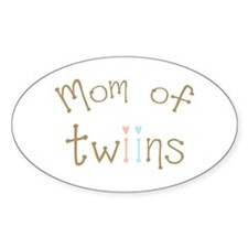 Mom of Twins Boy Girl Oval Decal