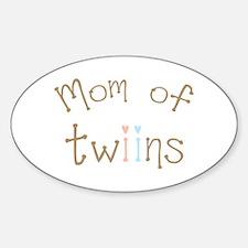 Mom of Twins Boy Girl Oval Decal