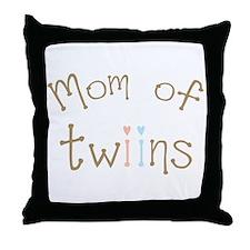 Mom of Twins Boy Girl Throw Pillow