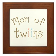 Mom of Twins Boy Girl Framed Tile
