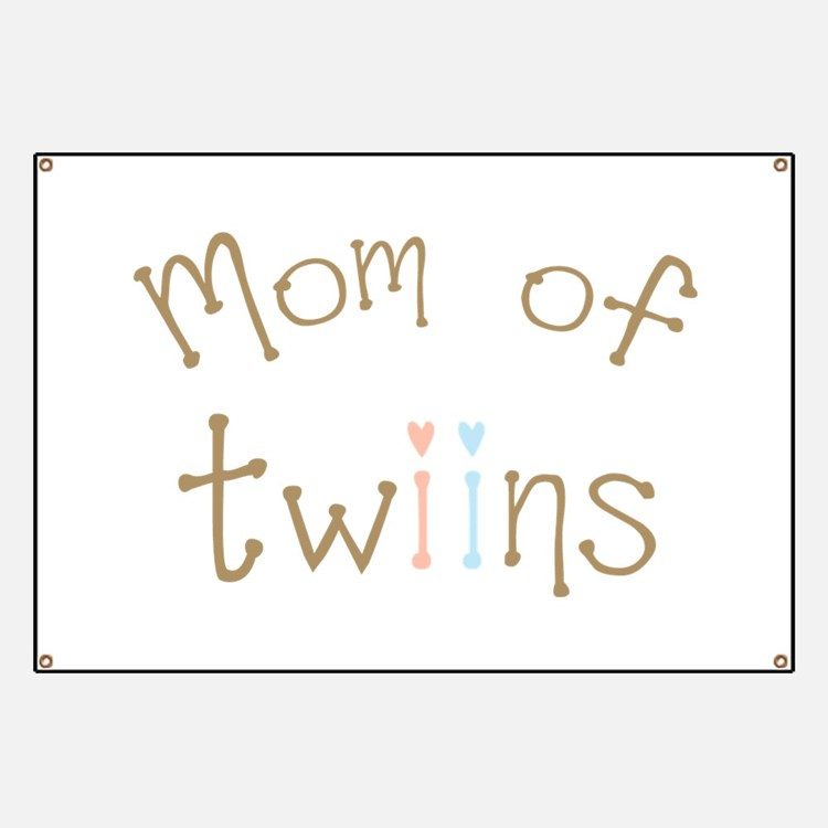 Mom of Twins Boy Girl Banner