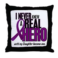 Never Knew A Hero 2 Purple (Daughter) Throw Pillow