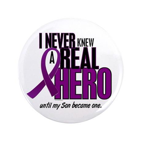"Never Knew A Hero 2 Purple (Son) 3.5"" Button (100"