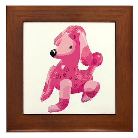 Pink Poodle Framed Tile