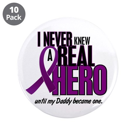 """Never Knew A Hero 2 Purple (Daddy) 3.5"""" Button (10"""