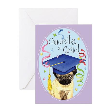 Pug Graduate Greeting Card