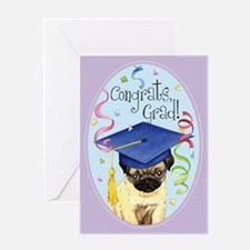 Pug Graduate Greeting Card