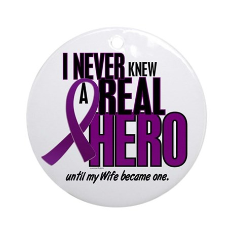 Never Knew A Hero 2 Purple (Wife) Ornament (Round)