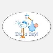It's a Boy! Stork Oval Decal