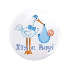 "It's a Boy! Stork 3.5"" Button"