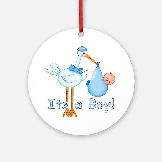 It's a Boy! Stork Ornament (Round)