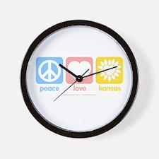 Peace, Love, Kansas! Wall Clock