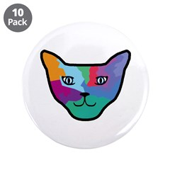 """Pop Art Cat Face 3.5"""" Button (10 pack)"""