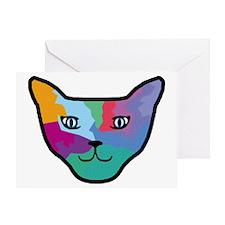Pop Art Cat Face Greeting Card