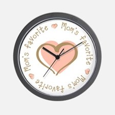 Mom's Favorite Girl Heart Wall Clock