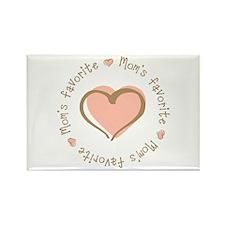 Mom's Favorite Girl Heart Rectangle Magnet (100 pa