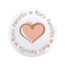 "Mom's Favorite Girl Heart 3.5"" Button (100 pack)"