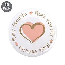 "Mom's Favorite Girl Heart 3.5"" Button (10 pack)"