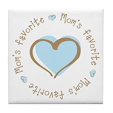 Mom's Favorite Boy Heart Tile Coaster