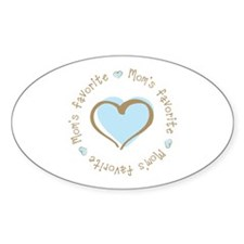 Mom's Favorite Boy Heart Oval Decal