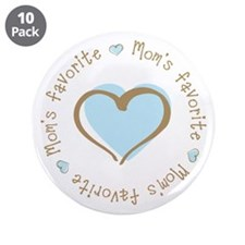 """Mom's Favorite Boy Heart 3.5"""" Button (10 pack)"""