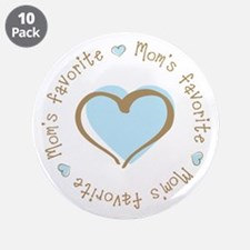 "Mom's Favorite Boy Heart 3.5"" Button (10 pack)"
